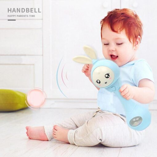 0 12M Baby Cute Hand Bells Rattle Ring Bell Early Educational Toys Cattle baby toy Bed 4