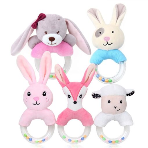 0 24 Months Cute Baby Rattle Toys Rabbit Plush Baby Cartoon Bed Toys for Newborn Educational