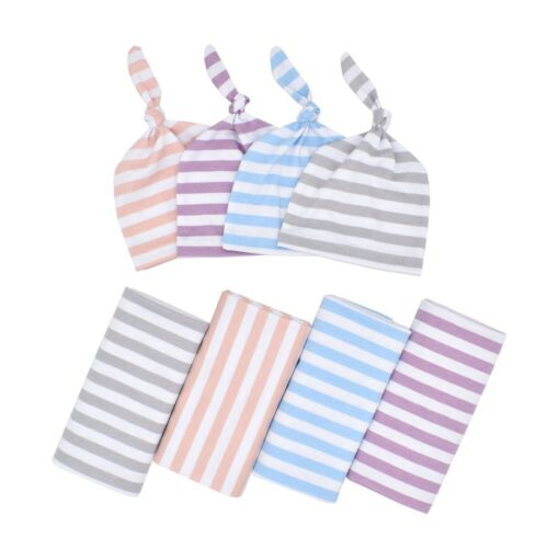 0 3 Months 100 Cotton Baby Wrap Swaddle Blanket Newborn Infant Baby Striped Swaddle Hat Soft 3