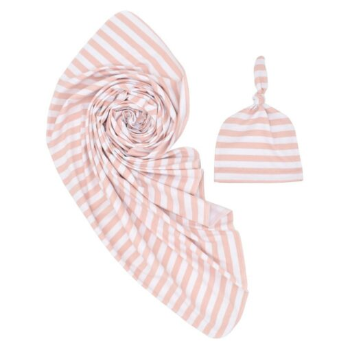 0 3 Months 100 Cotton Baby Wrap Swaddle Blanket Newborn Infant Baby Striped Swaddle Hat Soft 5