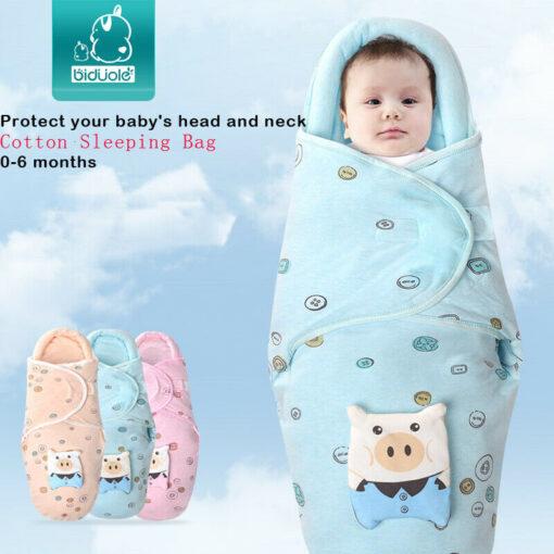 0 8M Newborn Baby Cotton Blanket Swaddle Cute Cartoon Toddler Winter Warm Sleeping Bags Sleep Sack 1