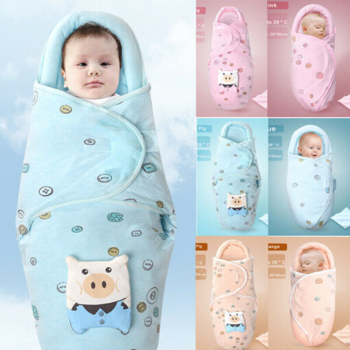 0 8M Newborn Baby Cotton Blanket Swaddle Cute Cartoon Toddler Winter Warm Sleeping Bags Sleep Sack