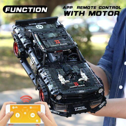 1 12 APP Motorized Technic Car Toys The 20087 P1 Race Car And 20102 Mustang Hoonicorn 2