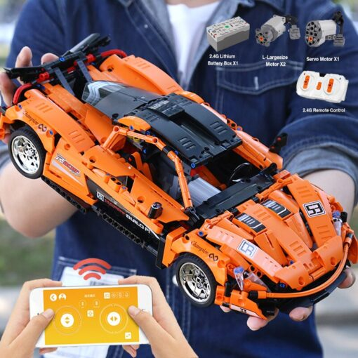 1 12 APP Motorized Technic Car Toys The 20087 P1 Race Car And 20102 Mustang Hoonicorn 3