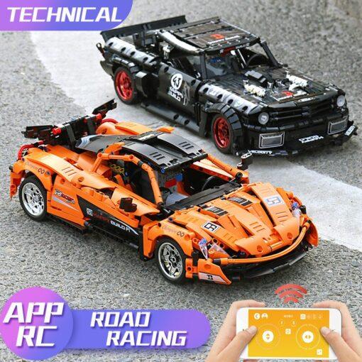 1 12 APP Motorized Technic Car Toys The 20087 P1 Race Car And 20102 Mustang Hoonicorn 4