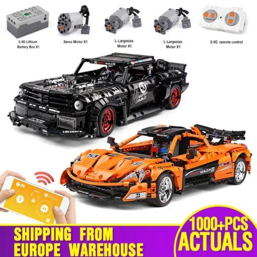 1 12 APP Motorized Technic Car Toys The 20087 P1 Race Car And 20102 Mustang Hoonicorn
