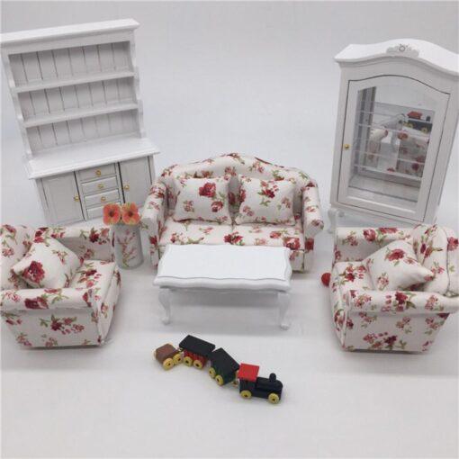 1 12 Dollhouse Doll House Sofa 12 Points Furniture Living Room Decoration Sofa Three piece Simulation 1