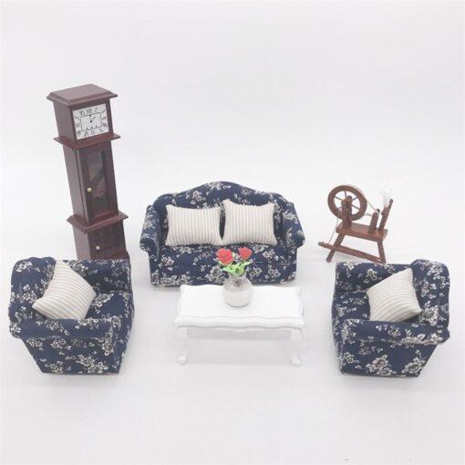 1 12 Dollhouse Doll House Sofa 12 Points Furniture Living Room Decoration Sofa Three piece Simulation 2
