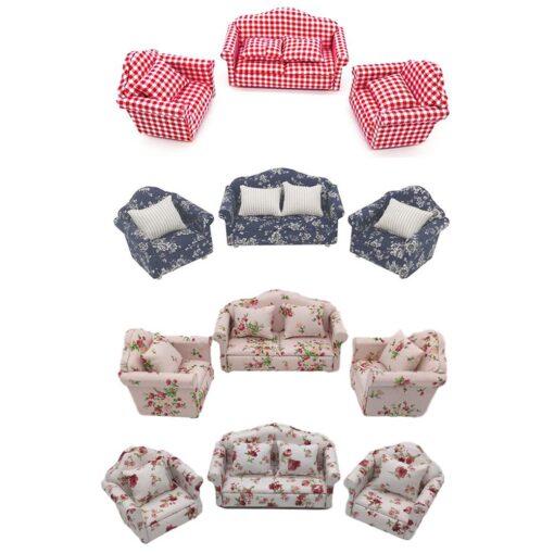 1 12 Dollhouse Doll House Sofa 12 Points Furniture Living Room Decoration Sofa Three piece Simulation 3