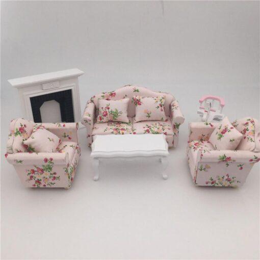 1 12 Dollhouse Doll House Sofa 12 Points Furniture Living Room Decoration Sofa Three piece Simulation 5