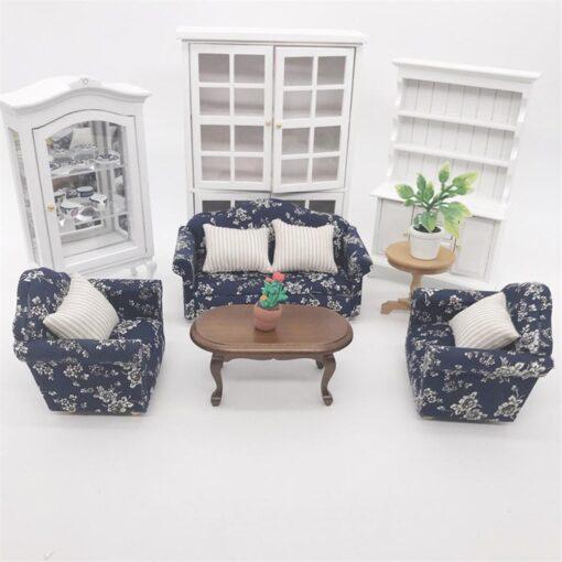 1 12 Dollhouse Doll House Sofa 12 Points Furniture Living Room Decoration Sofa Three piece Simulation