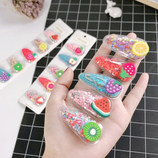 1 3 5pcs Kids Cute Color Fruit Hairclip Baby Hair Clips Baby Head Jewelry Drop shaped 1