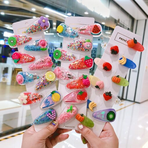 1 3 5pcs Kids Cute Color Fruit Hairclip Baby Hair Clips Baby Head Jewelry Drop shaped 2