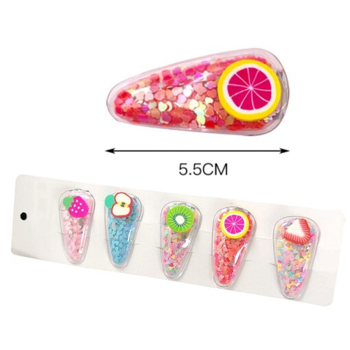 1 3 5pcs Kids Cute Color Fruit Hairclip Baby Hair Clips Baby Head Jewelry Drop shaped 3