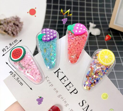 1 3 5pcs Kids Cute Color Fruit Hairclip Baby Hair Clips Baby Head Jewelry Drop shaped 5