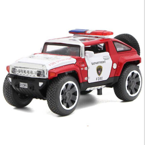1 32 Scale Hummer Police Diecast Vehicles Model Cars Toys With Openable Doors Pull Back Function 1