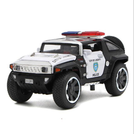 1 32 Scale Hummer Police Diecast Vehicles Model Cars Toys With Openable Doors Pull Back Function 2