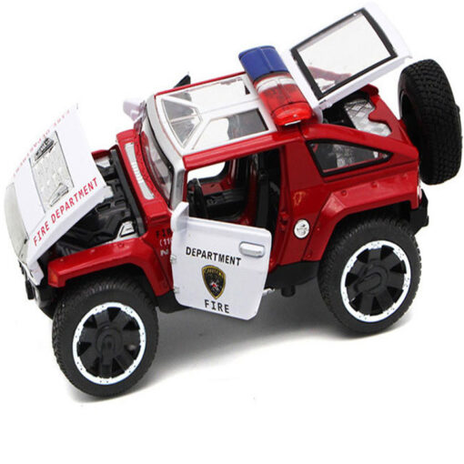 1 32 Scale Hummer Police Diecast Vehicles Model Cars Toys With Openable Doors Pull Back Function 3
