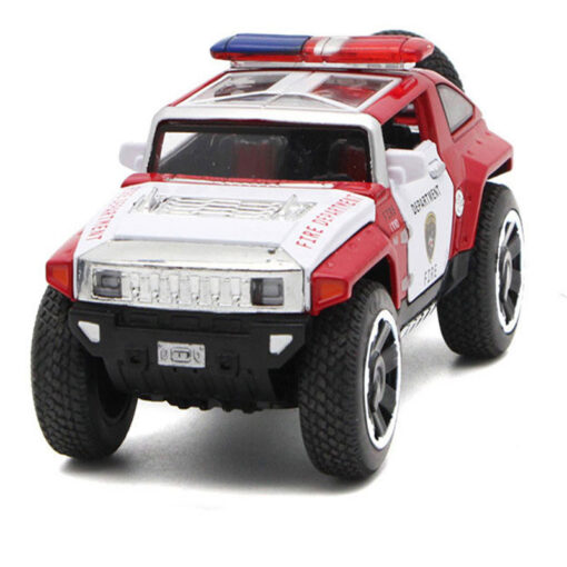 1 32 Scale Hummer Police Diecast Vehicles Model Cars Toys With Openable Doors Pull Back Function 4