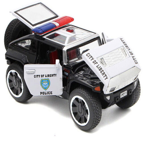 1 32 Scale Hummer Police Diecast Vehicles Model Cars Toys With Openable Doors Pull Back Function 5