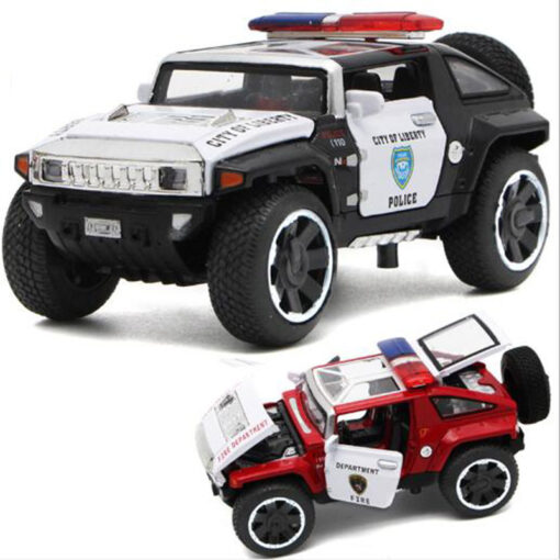 1 32 Scale Hummer Police Diecast Vehicles Model Cars Toys With Openable Doors Pull Back Function