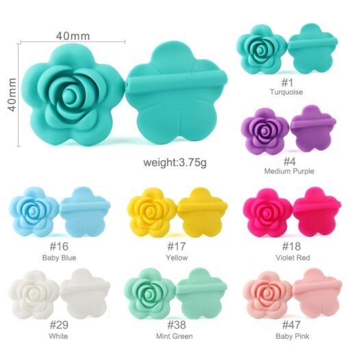 1 4 10pcs Rose Silicone Beads 8Colors Baby Teethers Food Grade Baby Teething Toys For Pacifier 1