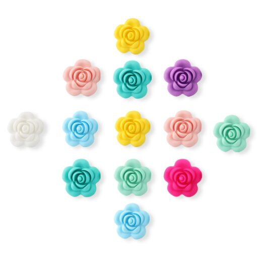 1 4 10pcs Rose Silicone Beads 8Colors Baby Teethers Food Grade Baby Teething Toys For Pacifier 2