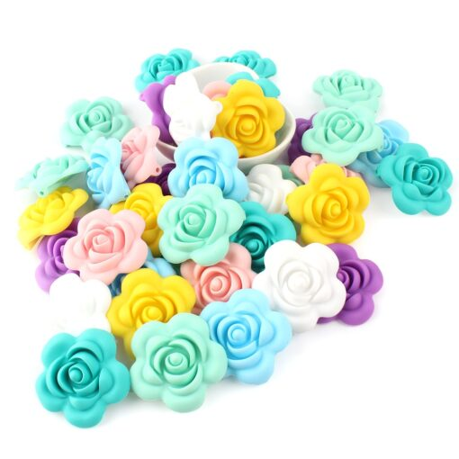 1 4 10pcs Rose Silicone Beads 8Colors Baby Teethers Food Grade Baby Teething Toys For Pacifier 3