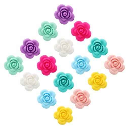 1 4 10pcs Rose Silicone Beads 8Colors Baby Teethers Food Grade Baby Teething Toys For Pacifier 4