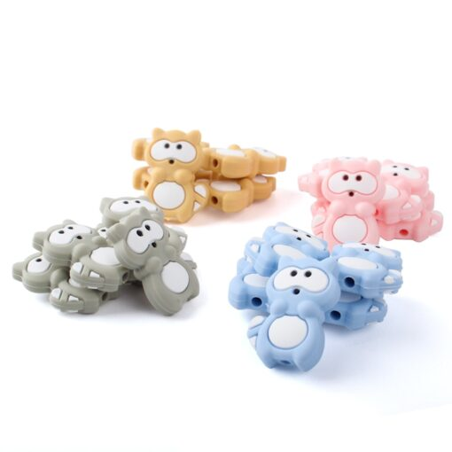 1 4 8pcs Silicone Beads Mini raccoon Silicone Teething Beads Accessories silicone rodent Making Necklace Pendant 3