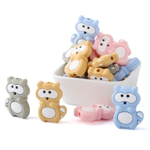 1 4 8pcs Silicone Beads Mini raccoon Silicone Teething Beads Accessories silicone rodent Making Necklace Pendant 4