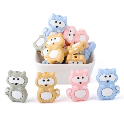 1 4 8pcs Silicone Beads Mini raccoon Silicone Teething Beads Accessories silicone rodent Making Necklace Pendant