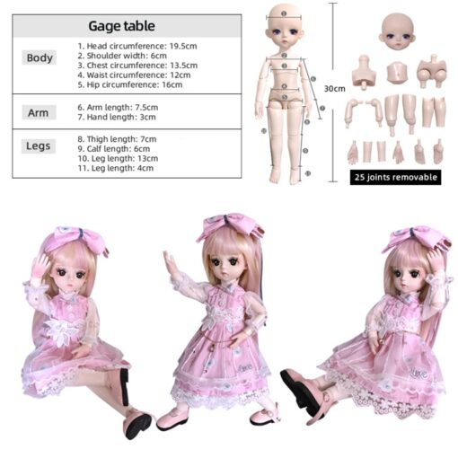 1 6 BJD Doll 30CM 18 Ball Joints Dolls With Full Outfits Dress Wig Shoes Headdress 4