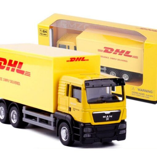 1 64 Scale 15CM Toy Car Metal Alloy Commercial Vehicle Express DHL VAN PullBack Diecast Truck 2