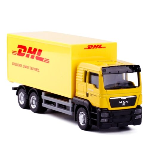 1 64 Scale 15CM Toy Car Metal Alloy Commercial Vehicle Express DHL VAN PullBack Diecast Truck
