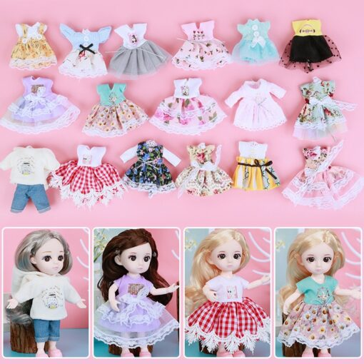 1 8 BJD Dolls Clothes Set 16 18 CM BJD Dolls Lace Flower Dress Sweater 6