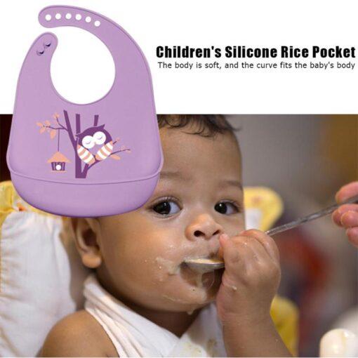 1 PC Cartoon Baby Apron Windproof Infant Eating Apron Silicone Kids Bib Newborn Baby Feeding Adjustable 2
