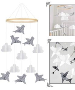 1 PCS Baby Crib Felt Ball Mobile Rattle Infant Cot Wind Chime Bed Bird Bell Toys