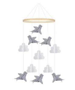 1 PCS Baby Crib Felt Ball Mobile Rattle Infant Cot Wind Chime Bed Bird Bell Toys 3
