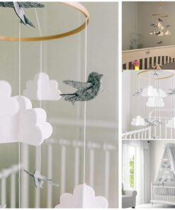 1 PCS Baby Crib Felt Ball Mobile Rattle Infant Cot Wind Chime Bed Bird Bell Toys 5
