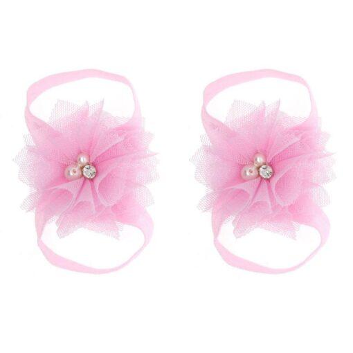 1 Pair Newborn Baby Foot Flower Girl Kids Infant Elastic Fashion Band Grosgain Ribbon Ruffled Barefoot 1