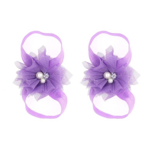 1 Pair Newborn Baby Foot Flower Girl Kids Infant Elastic Fashion Band Grosgain Ribbon Ruffled Barefoot 2