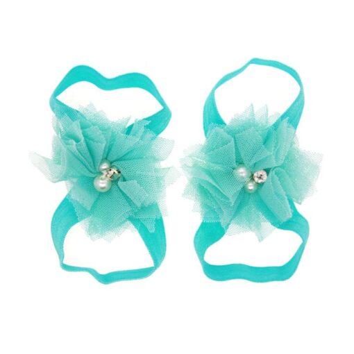 1 Pair Newborn Baby Foot Flower Girl Kids Infant Elastic Fashion Band Grosgain Ribbon Ruffled Barefoot 5