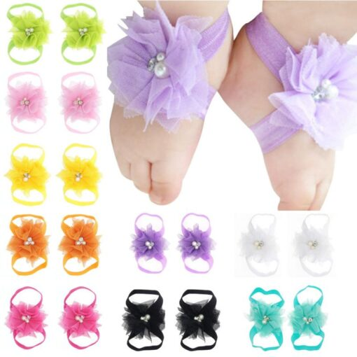 1 Pair Newborn Baby Foot Flower Girl Kids Infant Elastic Fashion Band Grosgain Ribbon Ruffled Barefoot
