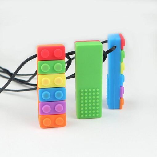 1 Pc Baby Rainbow Teether Necklace Silicone Teethers Brick Sensory Chew Topper Eco friendly Silicone Biting 1