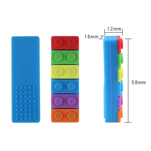 1 Pc Baby Rainbow Teether Necklace Silicone Teethers Brick Sensory Chew Topper Eco friendly Silicone Biting 4