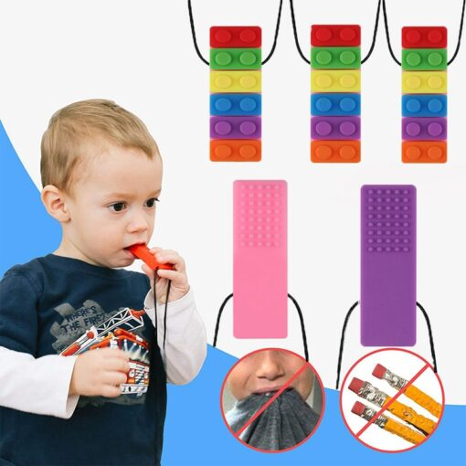 1 Pc Baby Rainbow Teether Necklace Silicone Teethers Brick Sensory Chew Topper Eco friendly Silicone Biting