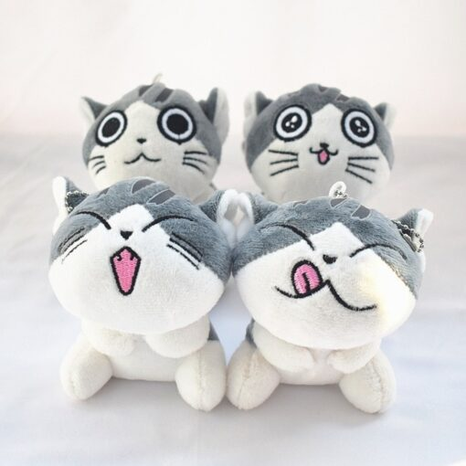 1 Piece 4 Designs 10CM Approx Cat Plush Stuffed Dolls Toys Key Ring Chain Plush Cat