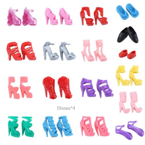 1 Set Doll Accessories For Barbie Doll Shoes Boots Mini Dress Handbags Crown Hangers Glasses Doll 2