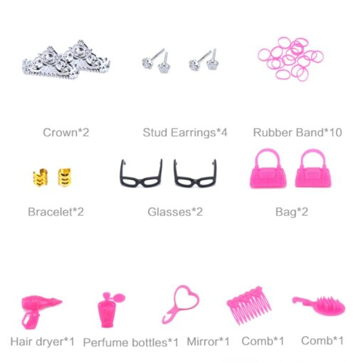 1 Set Doll Accessories For Barbie Doll Shoes Boots Mini Dress Handbags Crown Hangers Glasses Doll 3